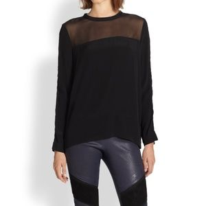 IRO Ashty Black Mesh and Open Ladder Arm Blouse